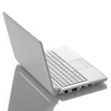 与黑色屏幕的白色开放膝上型计算机 库存图片