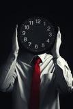 与黑色时钟,截止日期概念的生意人 免版税库存图片