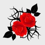 与黑设计元素的红色玫瑰在灰色背景被隔绝 库存图片