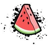 与黑飞溅,传染媒介例证的简单的西瓜三角 库存例证