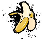 与黑飞溅,传染媒介例证的简单的质朴的被剥皮的香蕉 库存例证