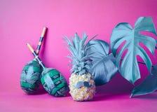 与黑髭髭的成熟菠萝在桃红色背景,与植物的大绿色叶子 滑稽的面孔食物 库存图片