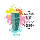 与鼓和舞蹈的明亮的卡片对您自己的鼓文本敲打  向量例证