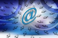 与鼠标的电子邮件标志 图库摄影