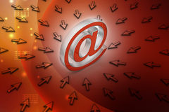 与鼠标的电子邮件标志 免版税库存图片