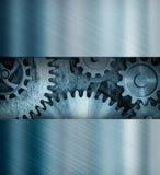 与齿轮和嵌齿轮3d例证的老金属背景 库存图片