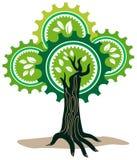 与齿轮的手树 免版税图库摄影