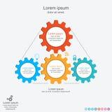 与齿轮的抽象infographics模板, infographic企业的概念,传染媒介例证 库存照片
