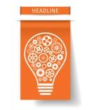 与齿轮的电灯泡里面在橙色纸选项 也corel凹道例证向量 免版税库存图片