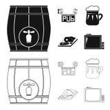 与龙头,客栈标志,一个杯子的木桶啤酒,肉片在委员会的 在黑色的客栈集合汇集象 免版税库存图片