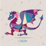 与龙的新年好2024创造性的贺卡由三角做成 免版税库存照片