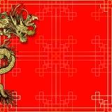 与龙的模板红色背景 免版税库存图片