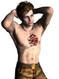 与龙纹身花刺的时装模特儿 库存照片
