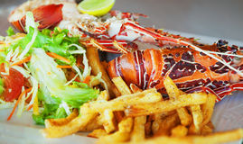 与龙虾和菜的一个盘 免版税库存照片