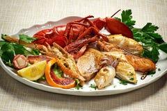 与龙虾的混杂的烤鱼在白色板材 免版税图库摄影