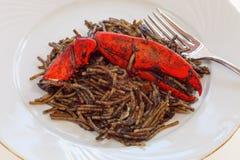 与龙虾的黑面条 库存图片