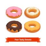 与给上釉的四个鲜美调味的油炸圈饼 皇族释放例证