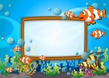 与水下的鱼的框架设计 库存例证