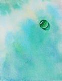 与水下落蓝绿色的美好的水彩背景 免版税库存图片