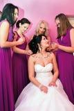与4个女傧相一起的美丽的新娘紫罗兰色相似的礼服的 免版税库存图片