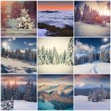 与9个方形的圣诞节风景的冬天拼贴画 免版税图库摄影
