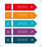 与5个选择的企业infographic箭头模板 能为图,图表,图,报告,网络设计使用 库存例证