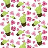 与仙人掌植物花的动画片柔和的无缝的纹理 免版税库存照片