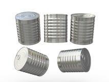 与延伸圈,包括的裁减路线的空白的圆柱形锡罐 库存照片