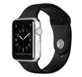 与黑体育带的苹果计算机手表体育银铝盒 免版税库存照片