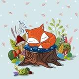 与滑倒小狐狸的传染媒介例证 库存照片