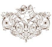 与巴洛克式的装饰品样式和丘比特的葡萄酒装饰元素板刻 免版税库存照片