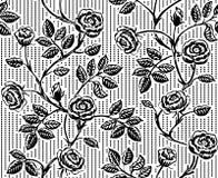 与经典手拉的玫瑰的葡萄酒花卉无缝的样式 免版税库存照片