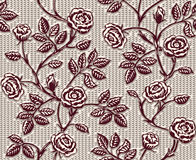 与经典手拉的玫瑰的葡萄酒花卉无缝的样式 库存照片