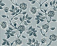 与经典手拉的玫瑰的葡萄酒花卉无缝的样式 库存图片