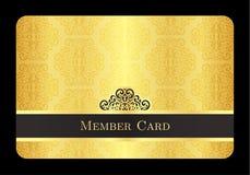 与经典葡萄酒样式的金黄成员卡片 免版税库存图片