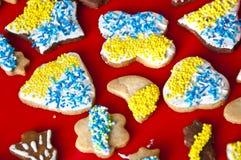 与结冰的圣诞节曲奇饼和洒 图库摄影