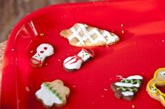 与结冰的圣诞节曲奇饼和洒 免版税库存照片