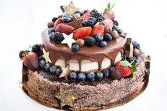 与结冰的巧克力蛋糕,装饰用新鲜水果 免版税库存图片