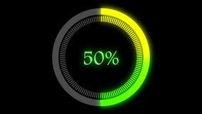 与0到100百分比增加的4K绿色和黄色颜色infographics圆图表 行动图表和动画背景 影视素材