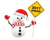 与2017前面新年标志的雪人 3d翻译 免版税库存照片