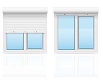 与滚动快门传染媒介例证的塑料窗口 免版税库存照片