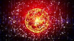 与移动的数字、线和小点的抽象全球网络球形 图库摄影