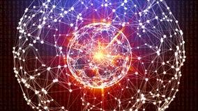 与移动的数字、线和小点的抽象全球网络球形 库存图片