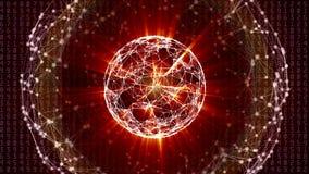 与移动的数字、线和小点的抽象全球网络球形 免版税库存照片