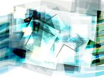 与移动的正方形的抽象蓝色背景 免版税库存图片