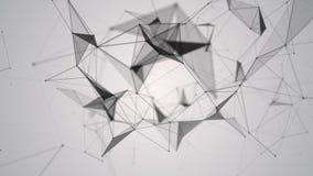 与移动的线、小点和三角的抽象几何背景 结节幻想摘要技术 圈动画 皇族释放例证