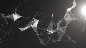 与移动的线、小点和三角的抽象几何背景 结节幻想摘要技术 圈动画 库存例证