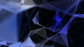 与移动的线、小点和三角的抽象几何背景 结节幻想摘要技术 皇族释放例证