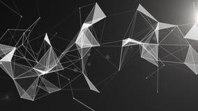 与移动的线、小点和三角的抽象几何背景 结节幻想摘要技术 库存例证