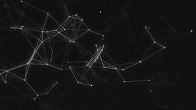 与移动的线、小点和三角的抽象美好的几何背景 结节幻想摘要技术 循环 库存例证